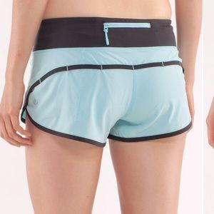 Lululemon Run Speed Shorts in teal and grey